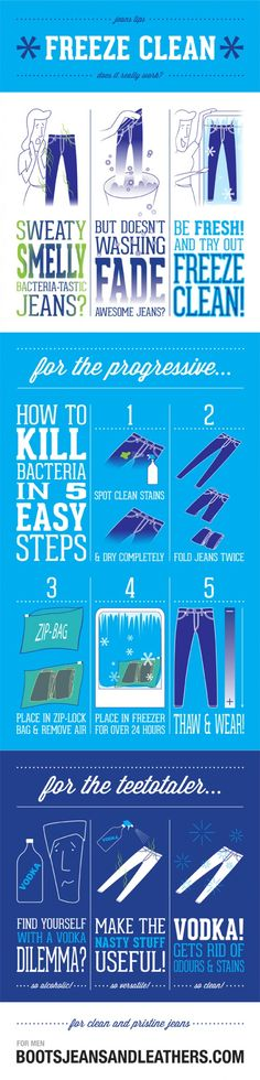 Freezing Your Jeans Infographic - good for expensive jeans you don't wear very often.