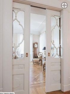 Beautiful Inspiration for Den/Office pocket doors. Could be frosted glass or other to obscure view but let in light. The post Inspiration for Den/Office pocket doors. Sliding Door Design, Sliding Glass Door, Glass Doors, Glass Pocket Doors, Glass Closet Doors, Sliding French Doors, Sliding Partition Doors, Partition Ideas, Closet Mirror