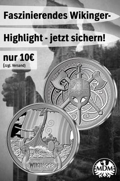 """Wikinger"" Prägung aus Silber 🚣🏻 Crafts, Random, Hair, Silver, Landscape, The Vikings, Money, Pennies, Quote"