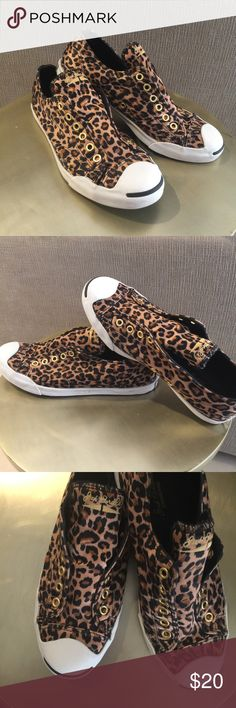 Excellent condition Jack Purcell leopard converse Excellent condition Jack Purcell leopard lace less converse slip on sneakers Converse Shoes Sneakers