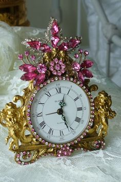 Sweet Cherubs & Pink Shimmers Globe Germany Jeweled Clock By Debbie-Baby, brush, comb, vintage, Weiss,antique, clock, bejeweled, pink,