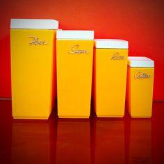 Set of 4 Vintage Capri Kitchen Canisters - Retro Orange Kitchen Ware - Bakelite