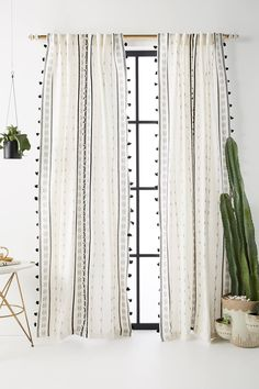 Araya Curtain by Anthropologie in Black, Curtains Source by anthropologie Curtains Tassel Curtains, Ikea Curtains, Curtains Living, Black Curtains Bedroom, Lounge Curtains, Bohemian Curtains, Cortina Boho, Rideaux Boho, Decoration Inspiration
