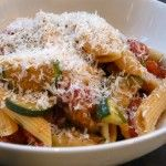 Penne with fresh tomato and zucchini