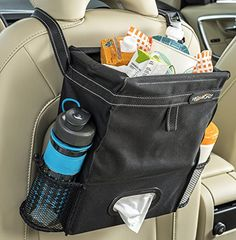 Fully leakproof black car trash bag and car organizer has a full sized tissue box holder and two side pockets to keep bottles and containers from tipping on tight turns.