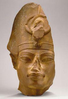 Head of Amenhotep III, New Kingdom, Dynasty 18, reign of Amenhotep III, c. 1390 - 1352 BC (no nose)