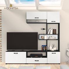 Σύνθεση τηλεόρασης CITY6030, 6 τεμ. 189X43x168,5, Χρώμα Μαύρο-Λευκό. IR-CITY6030. Από την Alphab2b.gr Flat Screen, Living Room, Furniture, Blood Plasma, Flatscreen, Home Living Room, Home Furnishings, Drawing Room, Lounge