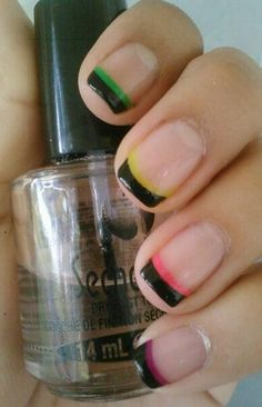 Neon black tips from Chloes Nail Blog (1st attempt),