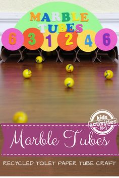 Marble Tubes Game. This Marble Tubes game is made of recycled toilet paper tubes, and it is fun to both create and enjoy playing with after the craft is complete.