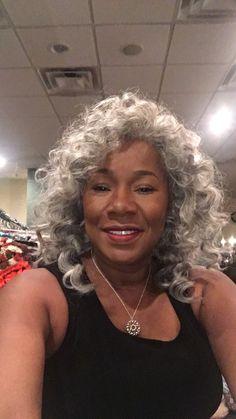 Sliver Fox in Detroit! Grey Hair Care, Grey Curly Hair, Curly Hair Styles, Natural Hair Styles, Gray Hair, Grey Hair Styles For Women, Silver Haired Beauties, Silver White Hair, Grey Hair Inspiration