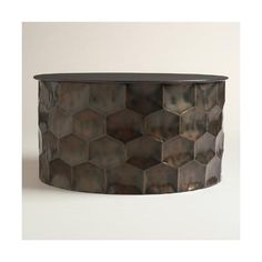 Cost Plus World Market Metal Rani Coffee Table ($230) ❤ liked on Polyvore featuring home, furniture, tables, accent tables, metal occasional tables, cost plus world market coffee table, cost plus world market, drum coffee table and storage table