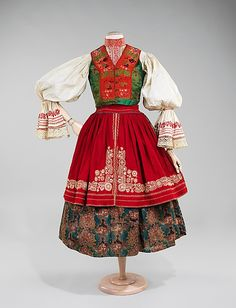 Ensemble.  Date: 1840–80. Culture: Slovak. Medium: wool, cotton, silk. Dimensions: Length at CB (a): 32 in. (81.3 cm). Length at CB (b): 25 in. (63.5 cm). Length at CB (c): 12 in. (30.5 cm). Length at CB (d): 22 in. (55.9 cm).