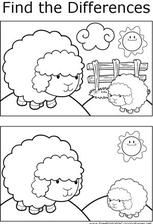 Great for quiet activities and art, this printable coloring page shows several differences between the two pictures of two sheep on a hill. Free Preschool, Preschool Learning, Kindergarten Worksheets, Worksheets For Kids, Infant Activities, Preschool Activities, Activity Sheets, Coloring Pages, Printable Coloring