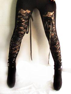 Black Gothic Corset Tribal Belly Dance Pant Lolita Leggings Cyber Punk Exotic S | eBay