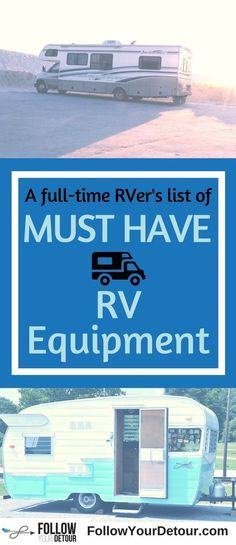 So happy we found this list before we started full-time RVing. This list is everything you'll need for RV living & camping...whether you are just taking your #RV on a road trip or if you're considering the RV lifestyle. Let this #fulltimeRV couple help you with their #RV tips, ideas, remodel, hacks, routes, and more. #RVlife #rvliving #rvfulltime #Equipment #gorving #rvlifestyle #RVers #roadtrip #rvtips #camperremodel