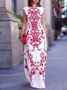 Multicolor Folk Print Cap Sleeve Maxi Empire Dress | abaday