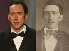 """Nicolas Cage and his doppelganger from the Civil War era This links to an article titled, """"Is Nicolas Cage Really a Vampire."""" It's an interesting, short read. Nicolas Cage, Ghost Pictures, Funny Pictures, Time Travel Proof, Mysterious Universe, After Life, Conspiracy Theories, Look Alike, Photos For Sale"""