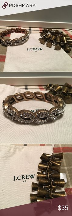 J. Crew lot of two bracelets Great lot of two bracelets. The first is a clamp style bangle with sparkles. The second is a bronze or antique gold bracelet approximately 7.5 inches in length. J. Crew Jewelry Bracelets