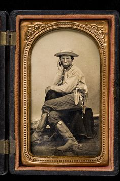 Texas cowboy, with beaded awl case, boots with spurs, knife and revolver 1868-1870