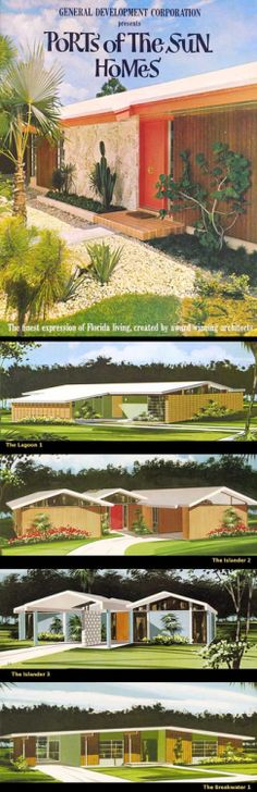 Ports of the Sun Homes   General Development Corp.   Florida 1964   These were taken from a brochure for planned communities in Port…