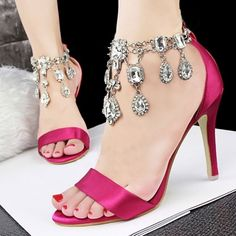Dangling Rhinestones Chain Open Toe Special Occasion High Heel Sandals on fashionsure.com