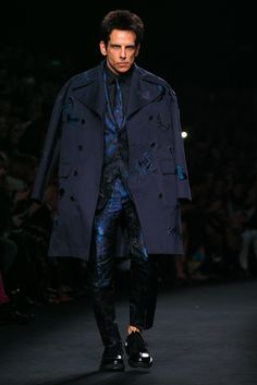 """As the Valentino Fall 2015 show closed, Ben Stiller walked the runway to announce that he would be reprising his role as """"Derek Zoolander"""" in a sequel to the fashion spoof """"Zoolander."""" (Photo: Nowfashion)"""