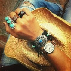 Vintage inspired Stunning Tibetan silver adjustable ring 3 semi-precious turquoise stones Cocktail Ring Boho chic Free people style Handmade