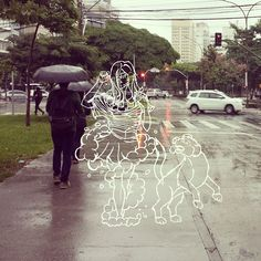 She moves in mysterious ways... even in the rain. #draw #drawing #illustration #rain #sp #brazil #saopaulo #girl #dog #woman #sketch #art #street #pen #pencil