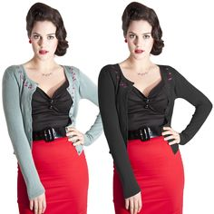 "Collectif Jo Tiny Cherry Vintage 1950s Rockabilly Womens Knitted Cardigan Top | eBay  238 ש""ח"