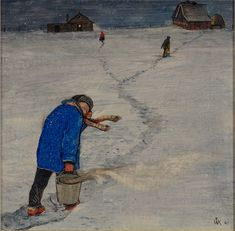Untitled (Child with Feed in Winter) | William Kurelek