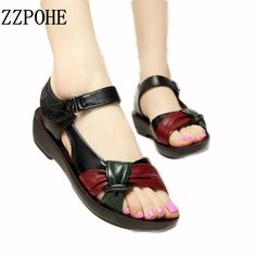Cheap flat sandals, Buy Quality fashion sandals women directly from China sandals women Suppliers: ZZPOHE 2017 summer Mother shoes flat sandals women aged leather Soft bottom mixed colors fashion sandals comfortable old shoes Shoes Flats Sandals, Flat Sandals, Strap Sandals, Converse Shoes, Vans, Neoprene, Old Shoes, Latest Shoe Trends, Pumps