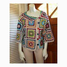 Crochet Asymmetrical Sweater - Custom Sizes 0 to 18 - Cotton Granny Square Colorful Design Sweater by Annie Briggs 'Shonda' Gilet Crochet, Crochet Coat, Crochet Jacket, Crochet Cardigan, Love Crochet, Beautiful Crochet, Crochet Clothes, Granny Square Sweater, Granny Square Crochet Pattern
