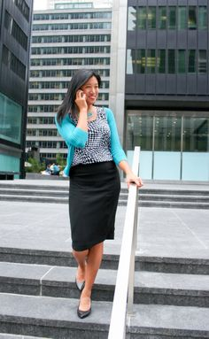 "This one is courtesy of Accenture Consulting's page.     ""Pair closet staples, like a black pencil skirt and black pumps, with colorful tops and accessories for a smart business casual outfit."" – Amy, Accenture Consultant"