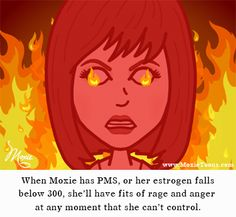 When Moxie has PMS, or her estrogen falls below 300, she'll have fits of rage and anger at any moment that she can't control. #moxie #moxietoons #pms #pof #pmdd #periods #perimenopause #menopause #estrogendeficiency