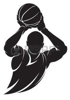Basketball player. Vector silhouette, isolated on white photo