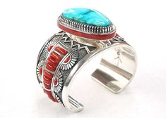 Coral and turquoise Sterling silver Native American cuff bracelet