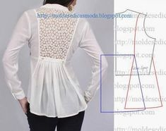 Illustration for this lovely shirt back~Moldes Moda por MedidaFashion Templates for Measure Chemisier inclusion dans le dos et peplum.I want this patternBeautiful lace back and pleats - would make a nice tunic feature Diy Clothing, Clothing Patterns, Dress Patterns, Sewing Patterns, Fashion Sewing, Diy Fashion, Ideias Fashion, Fashion Details, Costura Fashion
