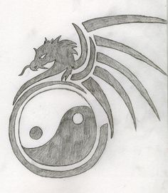 Dragon Drawings | Yin And Yang Dragon Tattoo Drawing