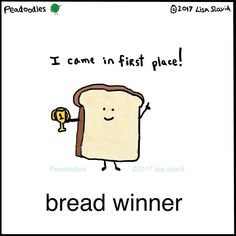 I'm challenging you to make a related pun in the comments! You'll be the toast of the town! Memes Humor, Food Humor, Funny Memes, Punny Puns, Cute Puns, Winner Quotes, Lame Jokes, Jokes And Riddles, Pun Card