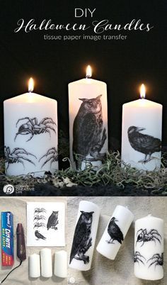 DIY Image Transfer Candles for Halloween How to transfer images onto candles using Tissue Paper wax paper and a blow dryer Easy craft Idea and tutorial DIY Halloween Decor Diy Halloween Party, Halloween Crafts To Sell, Halloween Crafts For Toddlers, Diy Crafts For Adults, Dollar Store Halloween, Halloween Candles, Halloween Decorations, Vintage Halloween, Infant Halloween