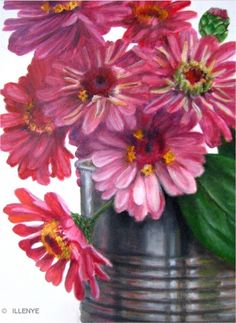 zinnias in tin can country late summer bouquet art oil painting, painting by artist JEANNE ILLENYE