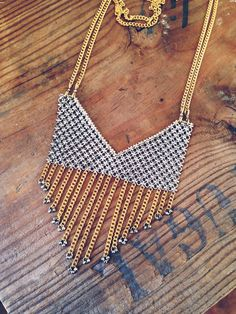 Rackk and Ruin Golden Fringe Collar Necklace    https://www.etsy.com/listing/125458506/golden-fringe-collar-necklace?#