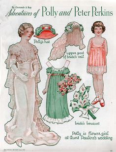 Paper Doll - Polly is a flower girl at Aunt Pauline's wedding. Pictorial Review, p. 49, June 1933