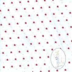Tissu etoiles rouge sur fond blanc au metre chez Sylvette en Goguette