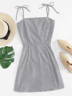 ROMWE offers Knot Shoulder Striped Cami Dress & more to fit your fashionable needs. Cute Comfy Outfits, Casual Fall Outfits, Cute Summer Outfits, Trendy Outfits, Summer Dresses, Girls Fashion Clothes, Summer Fashion Outfits, Elegant Dresses, Cute Dresses