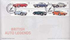 """First Day Cover issued on August 2013 featuring British Auto Legends . This cover features the """"thoroughbreds"""" - from Jaguar , Rolls-Royce , MGB , Lotus ,Morgan and Aston Martin Classic Sports Cars, Jaguar, British Railways, First Day Covers, Derbyshire, One Day, Royal Mail, Rolls Royce, Aston Martin"""