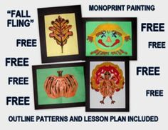 "FREE ""Fall Things"" Easy-art Mono-print  What fun it is to paint, and even more fun to experience printing with the painted object. It is almost like MAGIC!                         This project provides a fun, mono-printing experience related to the season and environment of fall, teaching children the skill of mono-printing and exposing them to the meaning of ""symmetry"", as it is applied to nature and seasons. http://www.teacherspayteachers.com/Product/Fall-Things-Easy-art-Mono-print-1387168"