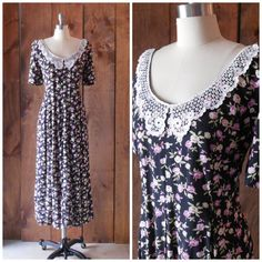 1980s floral rayon maxi dress with crocheted by SchoolofVintage, $38.00