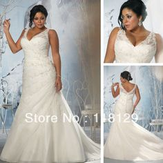 2013 Beautiful Ivory Organza Applique V neck Plus Size Mermaid Designer Wedding Dress 3145-in Wedding Dresses from Apparel  Accessories on Aliexpress.com $179.00