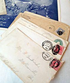 BellaRosaAntiques.com  Vintage Ephemera Set-Vintage Sheet Music, Ephemera, Victorian Music, Antique Letters, Antique Stamped Envelope